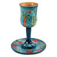 Yair Emanuel Large Wooden Kiddush Cup and Saucer - The Seven Species
