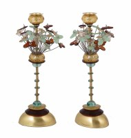 Yair Emanuel Candlesticks Brown and Green Butterfly Design 14""