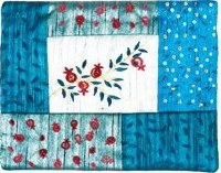 Yair Emanuel Embroiderd Tefillin Bag with Patches - Pomegranates Blue