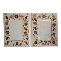 Yair Emanuel Embroidered Double Picture Frame - Pomegranate