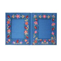 Yair Emanuel Embroidered Double Picture Frame - Flowers