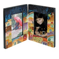 Yair Emanuel Double Wooden Painted Picture Frame - Jerusalem
