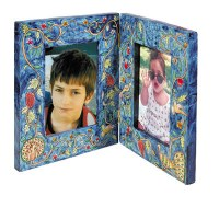 Yair Emanuel Double Wooden Painted Picture Frame - Peacock