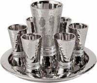 Yair Emanuel Hammered Nickel Cone Shaped Kiddush Set - Silver Rings