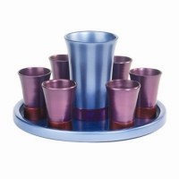 Yair Emanuel Anodized Aluminum Kiddush Set with Tray Blue and Purple