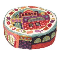 Yair Emanuel Hand Embroidered Bucharian Kippah - Multicolored Jerusalem