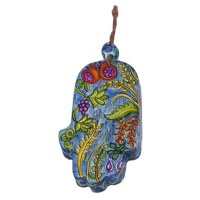 Yair Emanuel Small Wood Painted Hamsa - The Seven Species