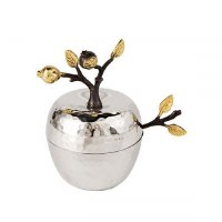 Yair Emanuel Honey Dish Hammered Stainless Steel Pomegranate Branch Design with Spoon