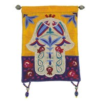 Yair Emanuel Raw Silk Large Wall Hanging - Multicolor Chamsa with Fish