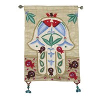 Yair Emanuel Raw Silk Large Wall Hanging - Gold Chamsa with Fish
