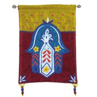 Yair Emanuel Raw Silk Large Wall Hanging - Colored Chamsa