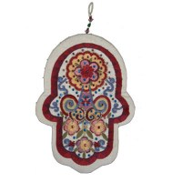 Yair Emanuel Large Embroidered Hamsa with Crystals - Oriental White
