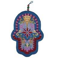 Yair Emanuel Large Embroidered Hamsa with Crystals - Oriental Blue