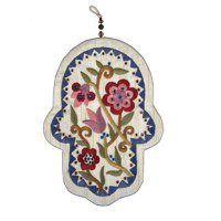 Yair Emanuel Large Embroidered Hamsa with Crystals - Flowers