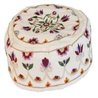 Yair Emanuel Hand Embroidered Bucharian Kippah -  Cream Flowers
