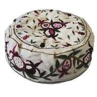 Yair Emanuel Hand Embroidered Bucharian Kippah - White Pomegranates