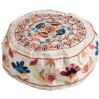 Yair Emanuel Embroidered Bucharian Kippah - White Flowers
