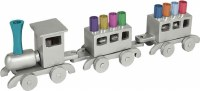 Yair Emanuel Anodized Train Menorah Silver with Multicolor Candles