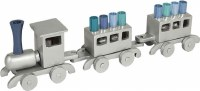 Yair Emanuel Anodized Train Candle Menorah Silver with Blue Candles