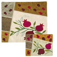 Yair Emanuel Raw Silk Matzah Cover - Pomegranates on White
