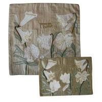 Yair Emanuel Raw Silk Matzah Cover - Lilies on Silver