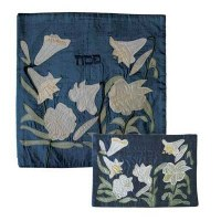 Yair Emanuel Raw Silk Matzah Cover - Lilies on Blue
