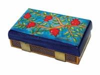 Yair Emanuel Matchbox Holder Light Blue Pomegranate Design