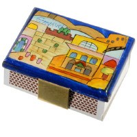 Yair Emanuel Matchbox Holder with Matchbox - Dark Blue Jerusalem / Western Wall
