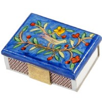 Yair Emanuel Matchbox Holder with Matchbox - Bird with Flowering Branches