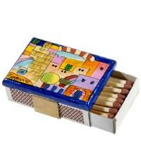 Yair Emanuel Matchbox Holder with Matchbox - Jerusalem Colorful / Tower of David