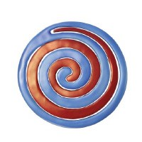 Yair Emanuel Aluminum Trivet Two Piece Swirl - Blue and Red