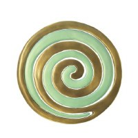 Yair Emanuel Aluminum Trivet Two Piece Swirl - Gold and Mint Green