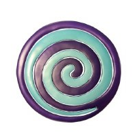 Yair Emanuel Aluminum Trivet Two Piece Swirl - Purple and Turquoise