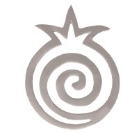 Yair Emanuel Aluminum Trivet Silver Pomegranate Shape