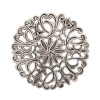 Yair Emanuel Aluminum Trivet Round Flower Design