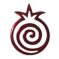 Yair Emanuel Aluminum Trivet Red Pomegranate Shape