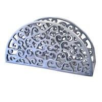 Yair Emanuel Aluminum Napkin Holder Silver - Paisley Cutout