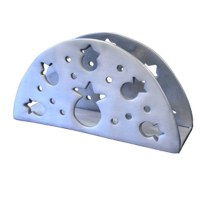 Yair Emanuel Aluminum Napkin Holder Silver - Cutout Pomegranates