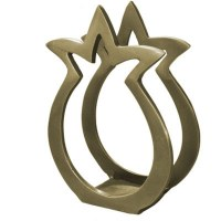 Yair Emanuel Aluminum Napkin Holder Gold Pomegranate Shape