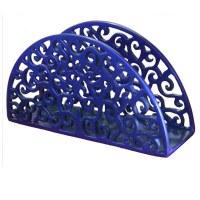 Yair Emanuel Aluminum Napkin Holder Blue - Paisley Cutout