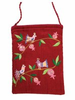 Yair Emanuel Embroidered Bag - Maroon Birds