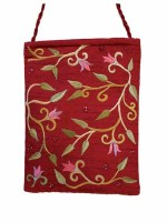 Yair Emanuel Embroidered Handbag - Maroon Flowers