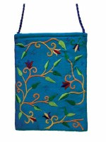 Yair Emanuel Embroidered Handbag - Turquoise Flowers