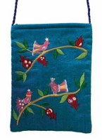 Yair Emanuel Embroidered Handbag - Turquoise Birds