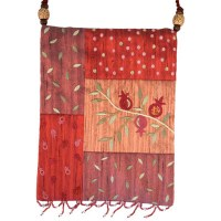 Yair Emanuel  Applique Embroidered Bag - Red Pomegranates