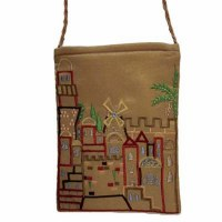 Yair Emanuel Embroidered Handbag - Gold Jerusalem