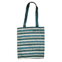 Yair Emanuel Blue Striped Applique Patches Bag