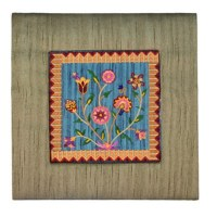 Yair Emanuel Gold Embroidered Frame with Picture - Flowers