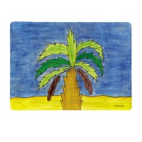 Yair Emanuel Wooden Handpainted Placemat - Palm Tree