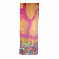 Yair Emanuel Painted Silk Scarf Jerusalem Design Gold Size Small